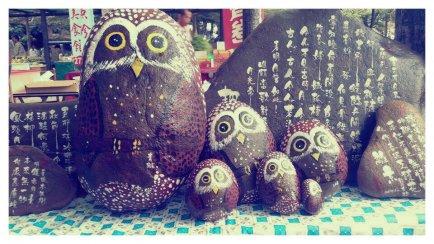 貓頭鷹石頭彩繪